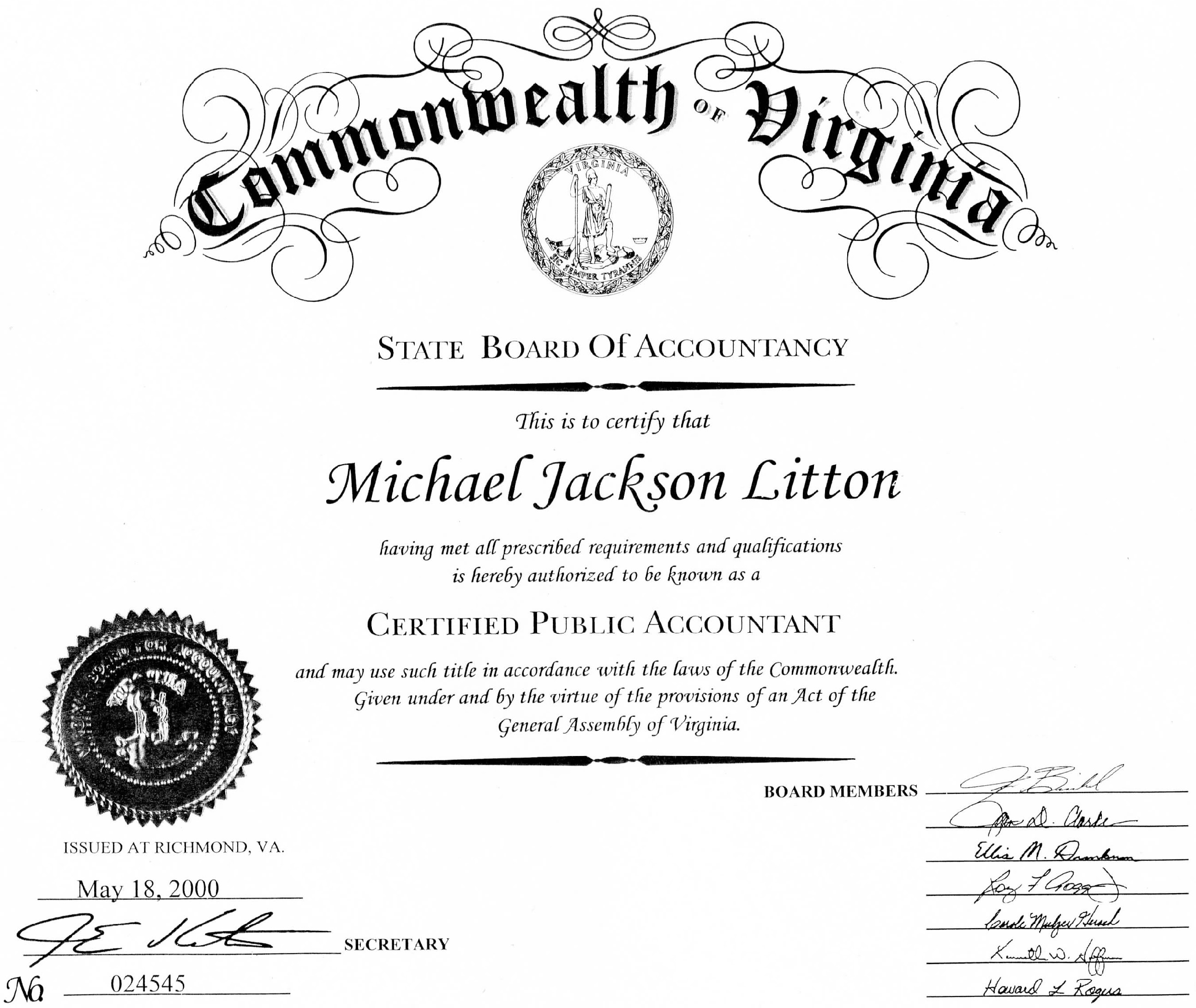 About litton cpa llc trained licensed experienced cpa wall certificate 1betcityfo Choice Image